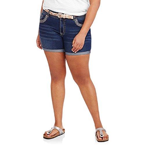 Faded Glory Embroidered Shorts (Faded Glory Plus Size Denim / Jean Embroidered Shorts w/ Belt - Dark Medium Wash (26W (4X)))