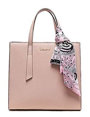 b402fab5fc77 LA FESTIN Handbag for Women Fashion Buckle Pink Tote Purses Genuine ...