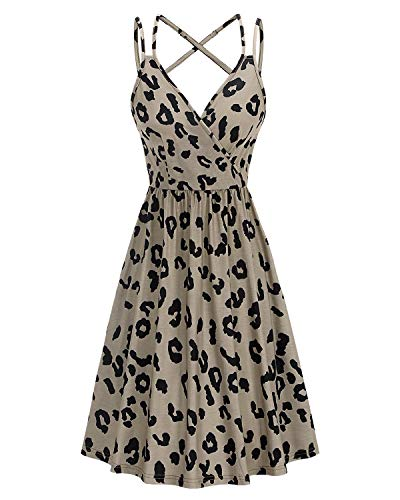 II ININ Women's Sundress V Neck Summer Casual Wrap Floral/Solid Dresses Spaghetti Strap Swing Dress with Pockets