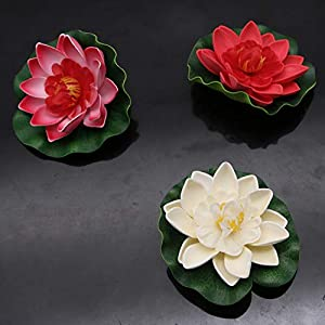 JETEHO Set of 8 Artificial Floating Foam Lotus Flower Water Lily for Home Garden Pond Aquarium Wedding Decor 5