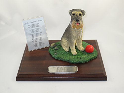 Beautiful Walnut Finished Personalized Memorial Plaque With Gray Uncropped Schnauzer Figurine