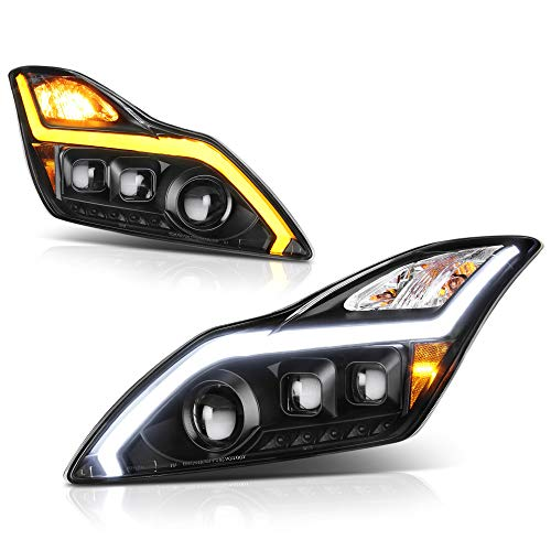 [Sequential Turn Signal] VIPMOTOZ Hexa Projector Switchback LED Strip Headlight Assembly For 2008-2015 Infiniti G37 & Q60 Coupe - Matte Black Housing, Driver and Passenger Side