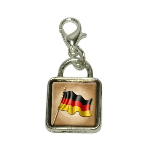 Vintage German Flag Germany Dangling Bracelet Pendant Square Charm