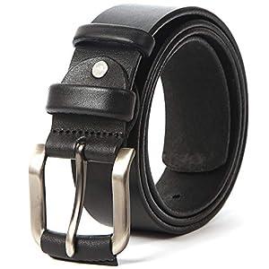 Men's Leather Belt Full Grain Solid Cowhide Straps 35-40 mm Casual Dress Work Belts