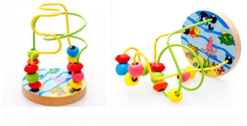 Joyeee Multicolor Wooden Bead Roller Coaster  3   Ocean Life Pattern   Compact Size Early Education Beads Maze Toys For Your Kids   Perfect Christmas Gift Ideas