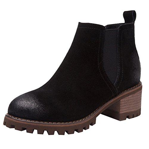Vogstyle Damen Herbst Winter Neue Frauen Stiefel Leder Chelsea Boots mit Blockabsatz Schwarz