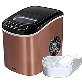 Portable Ice Maker Machine Counter Top Make 26lbs Daily Ice Cubes Ready in 6 Minutes Electric Ice Making Machine with Ice Scoop (Red)
