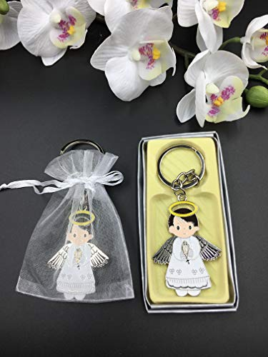 - 12 Pcs New White Angel Boy Baptism Keychain Party Favors for Baby Boys/Bautizo Recuerdos/Gift for Guest/Christening Favors With Organza Bags
