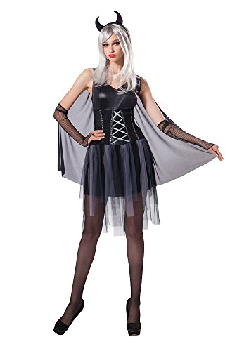 Bristol Novelty AC208 Ladies Black Devil Halloween Fancy Dress Costume, Silver, UK 10-14
