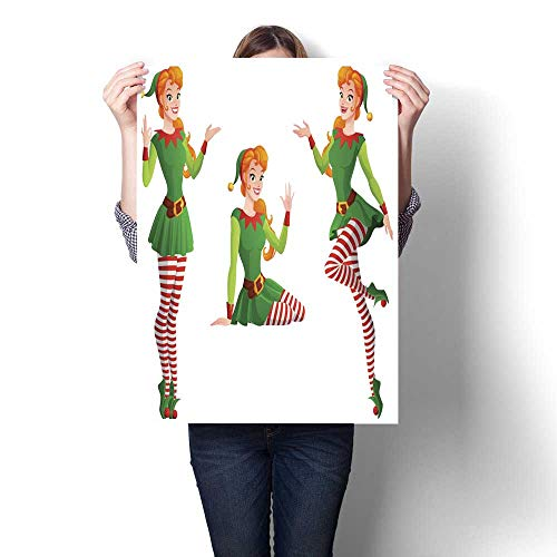 smllmoonDecor Canvas Wall Art Pinup Vector Girl in Christmas elf Costume in Different Poses Decorative Fine Art Canvas Print Poster K 20