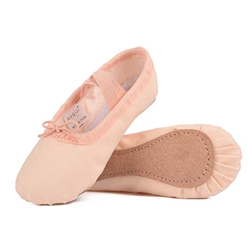 (Ballet Shoes for Girls/Toddlers/Kids, Black Canvas Ballet Shoes/Pink Ballet Slippers/Dance Shoes (8.5 M US Toddler, Ballet Pink-Canvas-Full Sole))