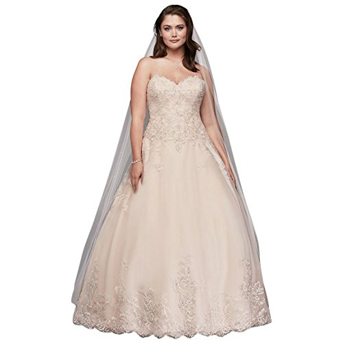 David's Bridal Beaded Lace and Tulle Plus Size Wedding Dress Style 9V3836, Vintage Rose, 24W