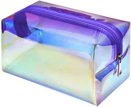 Holographic Makeup Bag, F-color Fashion Cosmetic Travel Bag Large Toiletry Bag Makeup Organizer for Women, Purple