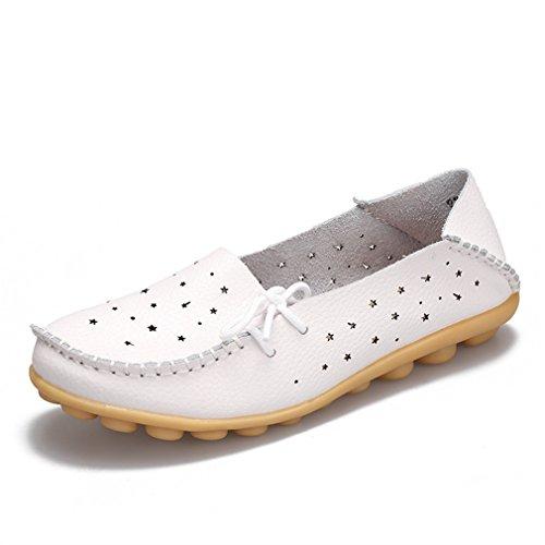 Bridfa Zapatos de cuero genuino Mujer Zapatos de mujer Zapatos Mocasines Slip On Zapatos planos de mujer Mocasines Zapato de ballet Blanco