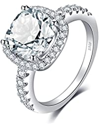 Cushion 3ct Cubic Zirconia Promise Halo Solitaire Engagement Ring 925 Sterling Silver