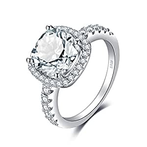 Amazon jewelrypalace cushion 3ct cubic zirconia promise halo engagement rings junglespirit Images