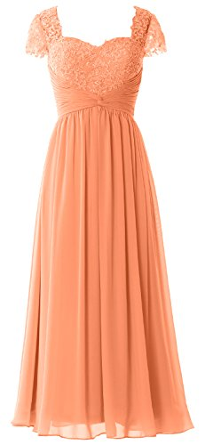 MACloth Women Cap Sleeves Mother of Bride Dress Lace Chiffon Evening Formal Gown Coral