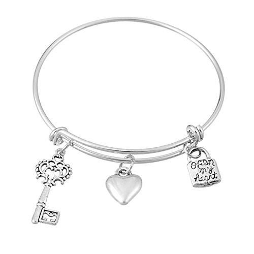 Encounter Silver Plated Lock Key Love Adjustable Wire Bangle Charm Bracelet