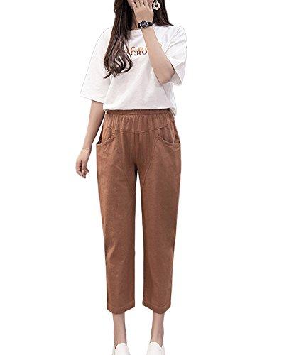 Cintura Elástica Lino Pantalones Camello Mujer Casuales Cómodos Pantalones Bolsillos Suaves Guiran Pantalones Con H5wqgFF