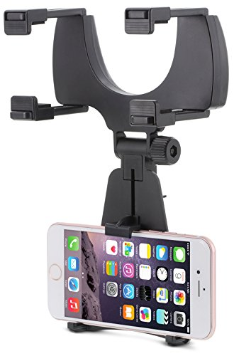 (Aduro Rearview Mirror Car Mount Grip Clip for Universal Smartphones, Multimedia Devices, GPS Units, Fits 3.5'-5.5' Screens, 240° Swivel, Rubberized Clips, iPhone/iPod, Samsung Galaxy Note,)