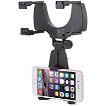 Aduro Rearview Mirror Car Mount Grip Clip for Universal Smartphones, Multimedia devices, GPS Units, Fits 3.5'-5.5' Screens, 240° Swivel, Rubberized Clips, iPhone/iPod, Samsung Galaxy Note, Blackberry