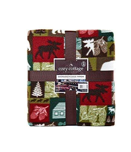 (Saranac Patch Fleece Throw with Foot Pouch Wildlife Patchwork Design 50 x 70 inches)
