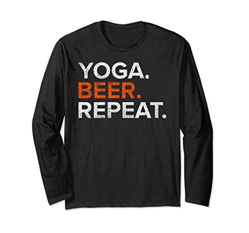 Unisex Vintage Yoga Beer Repeat Funny Long Sleeve T Shirt XL: Black (Sleeve Funny Long Repeat)