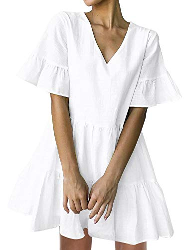 White Tunic Dress - FANCYINN Women's Cute Shift Dress with Pockets Fully Lined Bell Sleeve Ruffle Hem V Neck Loose Swing Tunic Mini Dress White L