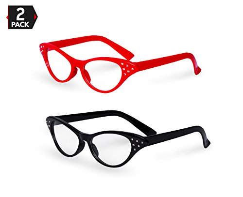 Red / Black Cat Eye Retro Costume Dress Up Hip Hop Rhinestone Glasses (2 Pack)