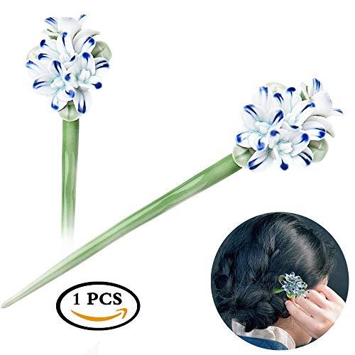 STAR-TOP Chinese Hair Chopsticks Hair Decor Crystal Rhinestone Hair Pins tulip Hair Clip Metal Hair Stick with Jewelly Box