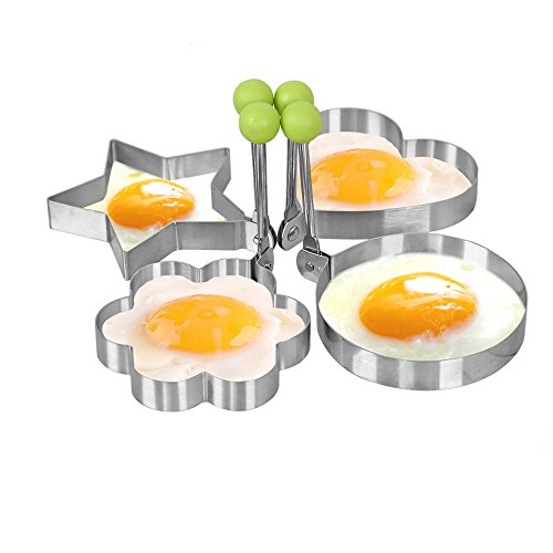 Fried Egg Mold Ring 4pcs Pancake Shapes Cooker  Nonstick Stainless Steel Cooking Tools for Frying Baking - Shaped Egg Heart