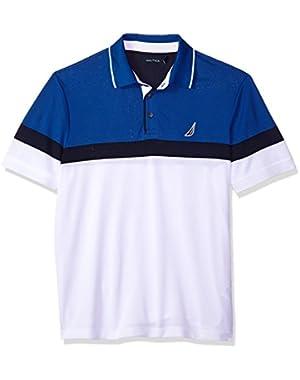 Men's Classic Short Sleeve Color Block Moisture Wicking Polo Shirt