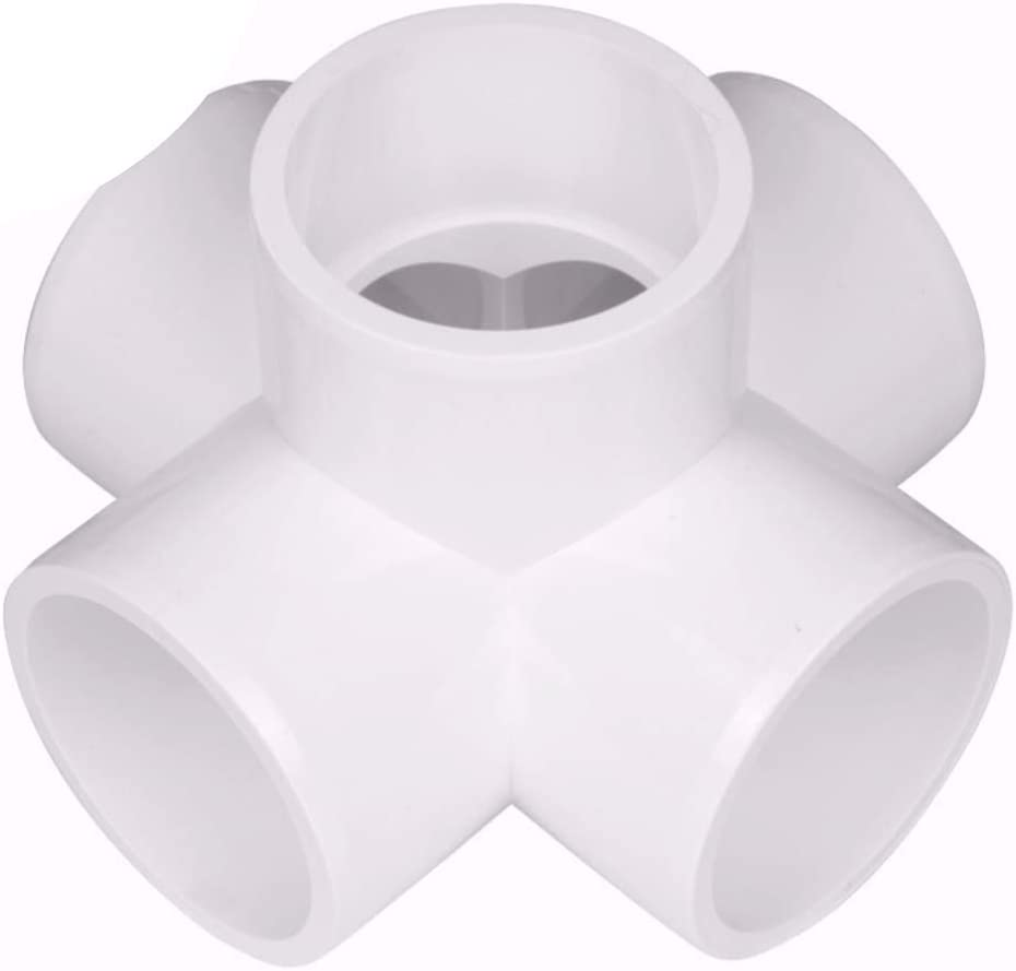 "CIRCOPACK 2"" 5-way x cross PVC Fitting Connectors Furniture Grade for use with Schedule 40 2"" PVC Pipes (2 pieces) (5-way)"