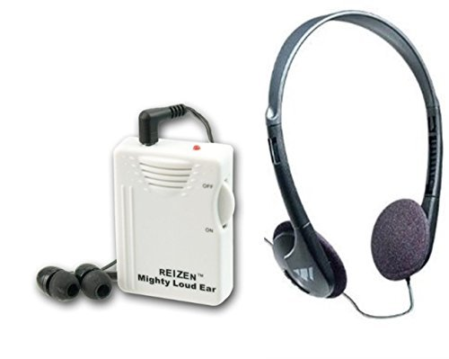Emergency Amplifier - Reizen Mighty Loud Ear 120dB Personal Sound Hearing Amplifier with Earphones and Extra Headphones