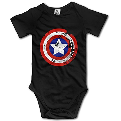 Captain America Shield Distressed Logo Baby Onesie (Officer And Gentleman Outfit)