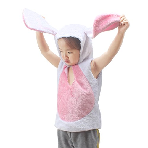 fedio Easter Kid's White Plush Bunny Rabbit Costume Animal Dress up Trunk for Children (White)