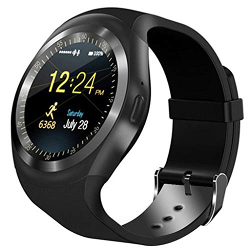 FEDULK Smart Watch Hands-Free Bluetooth Phone Mate Pedometer Healthy Wristband Smartwatch for iOS Android Phone(Black)