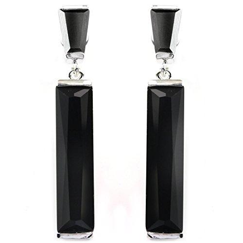 Black Baguette - FC JORY Black Color Dangle Baguette White Gold Plated CZ Bridal Wedding Earrings