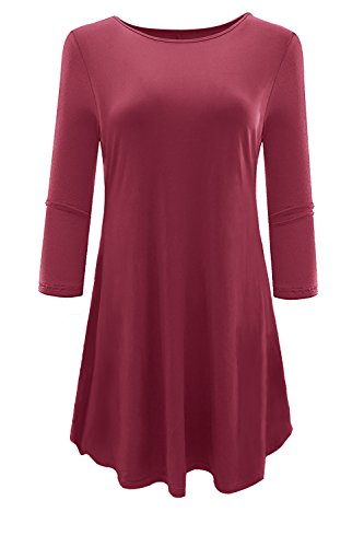 Plus Size Maternity Wear (Aonal Women's 3/4 Sleeve Tunic Tops Loose Basic Shirt, X-Large)