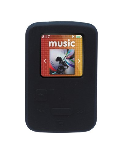 HappyZone - Silicone Skin Case-Black and Fishbone Style Keychain for SanDisk Sansa Clip Zip-4 GB / 8GB MP3 Player
