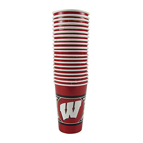 Offically Licensed NCAA Pack of 20 Disposable Cups - Wisconsin Badgers by Duck House