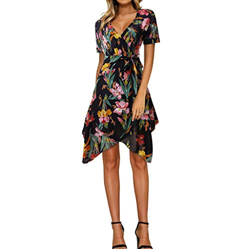RIUDA Women's Fashion V-Neck Floral Print Irregular Skirt Short Sleeve Dress Black ()