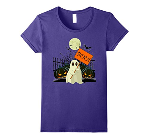 Womens Boo! Halloween Costume Shirt Medium Purple - Cute Halloween Comments