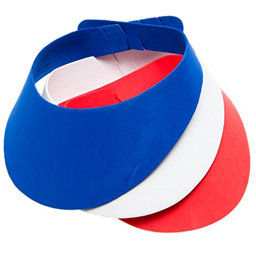Fun Express Red, White, and Blue Foam Visors (Visors Foam Patriotic)