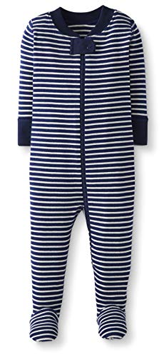 Moon and Back by Hanna Andersson Baby/ Toddler One-Piece Organic Cotton Footed Pajama, Navy, 3T