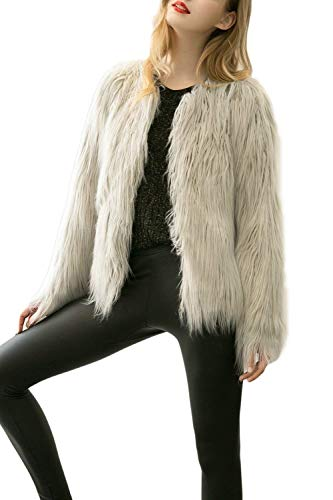 Giacca Pelliccia Party Monocromo Manica Lunga Cappotto Lanoso Semplice Di Grey Donna Imbottita Unico Giaccone Moda Glamorous Invernali Elegante Giubotto rrRa0w5q