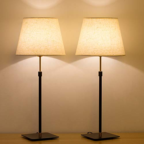 HAITRAL Bedside Table Lamp - Liftable Adjustment Desk Lamps Set of 2 with Metal Base and Linen Fabric Lamp Shade Elegant Nightstand Table Lamps for Bedrooms, Office, Den (HT-TH56-02X2)