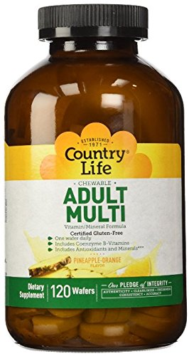 Country Life Chewable Adult Mutli with Antioxidants and Activated B Vitamins, 120-Wafers Adult Chewable Multivitamin