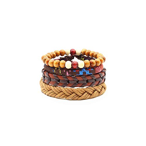 VBTY Beaded Stretch Bracelet, Stone Beads,4Pcs/Set Handmade Fashion Trendy Vintage Female Femme Homme Male Punk Wood Bead Charm Men Leather Bracelet for Women Jewelry Style 9