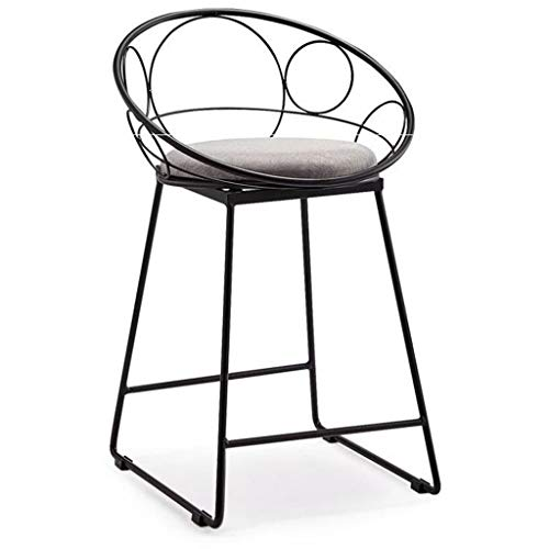GXDHOME Wrought Iron Bar Stool Hollow High Stools Back Net Red High Chair Simple Home Furniture Cafe Leisure Bar Stool (Color : Black-Oval, Size : 40x45x57cm) ()